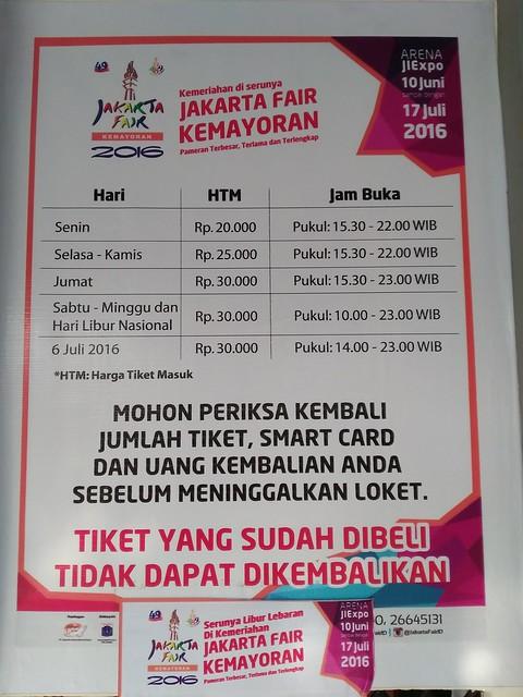Harga Tiket dan Jam Buka PRJ