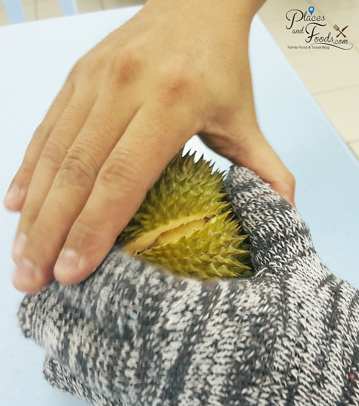 golden phoenix durian opening with hands