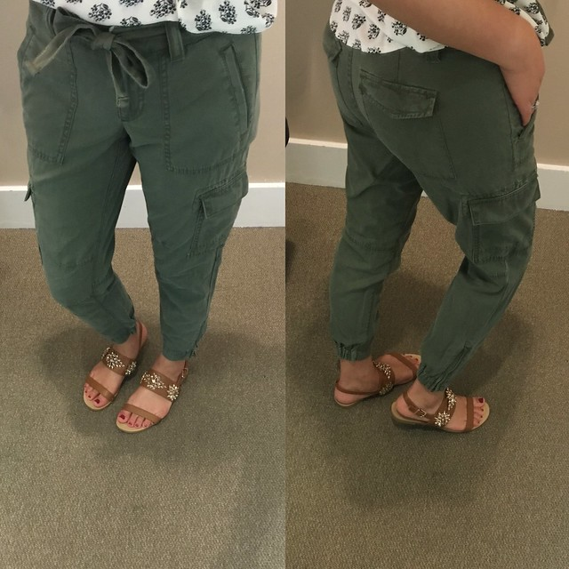 LOFT Tie Waist Cargo Pants, size 00P