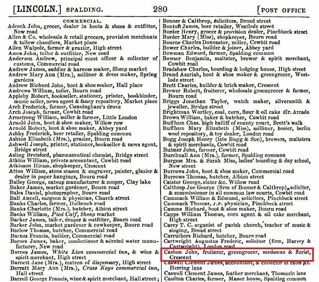 John C b1832 Somersham 1868 Spalding directory
