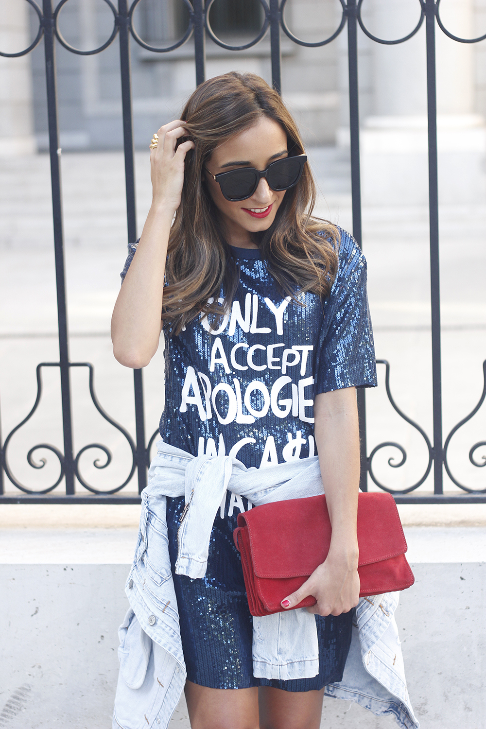 blue sequined dress nude heels denim jacket sunnies red bag accessories style fashion outfit09