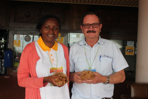 Ursule Mekongo of Association des Eleveurs et Agriculteurs du Cameroun (AEAC) and oberto Moncayo Gallian of Ecuador