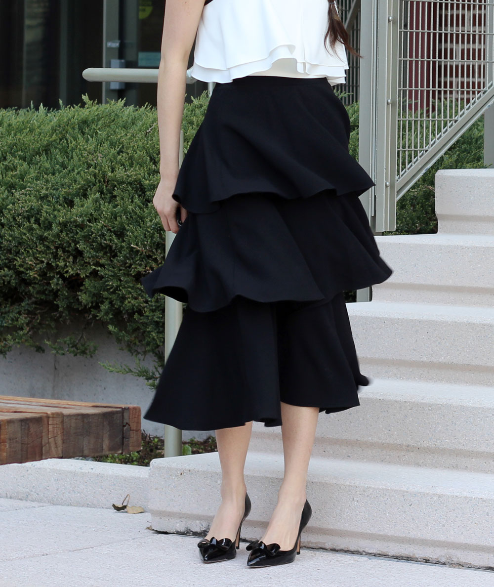 Black tier ruffle skirt and bow patent Ann Taylor heels