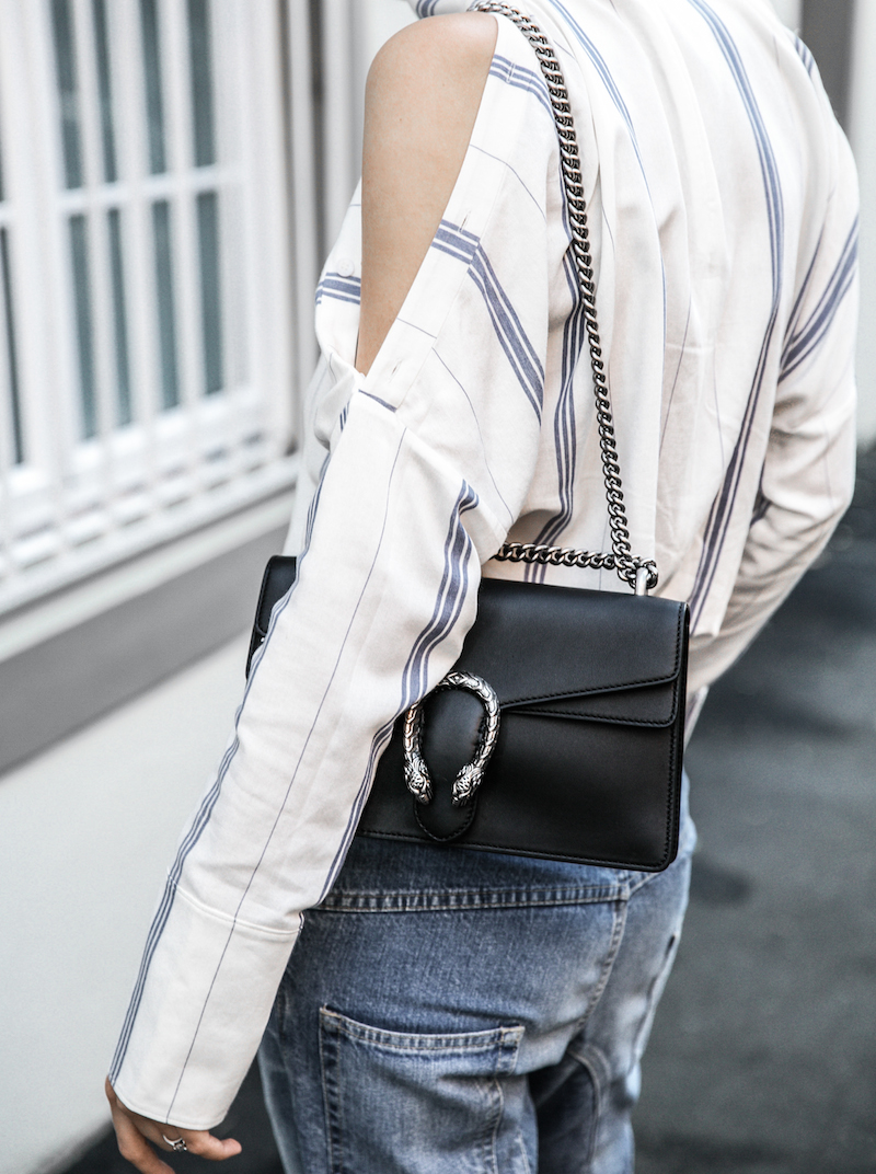 bassike lo slung jeans Gucci dionysus bag black fur horsebit loafers Tibi pinstripe shirt cold shoulder street style fashion blogger minimal modern legacy (6 of 8)
