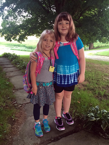 Phoebe and Lucy on Phoebe's first day of school