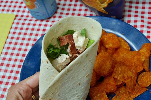 August 3 #dailylunches - chicken caesar wrap with Miss Vicky's Chips