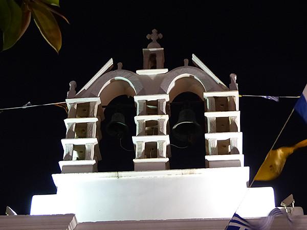 clocher de paros la nuit