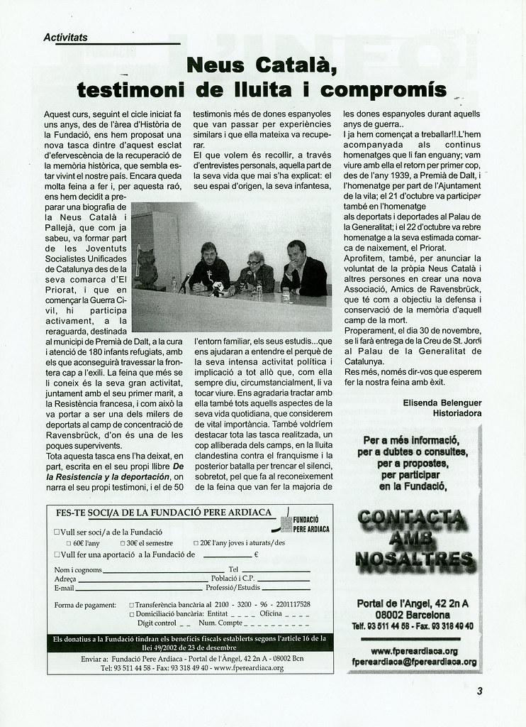 """Neus Català, testimoni de lluita i compromís"" per Elisenda Belenguer Info FPA"