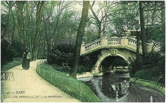 Пешеходный мостик в парке Монсо, Париж. Начало ХХ века.