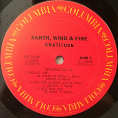 EARTH,WIND & FIRE:GRATITUDE(LABEL SIDE-A)