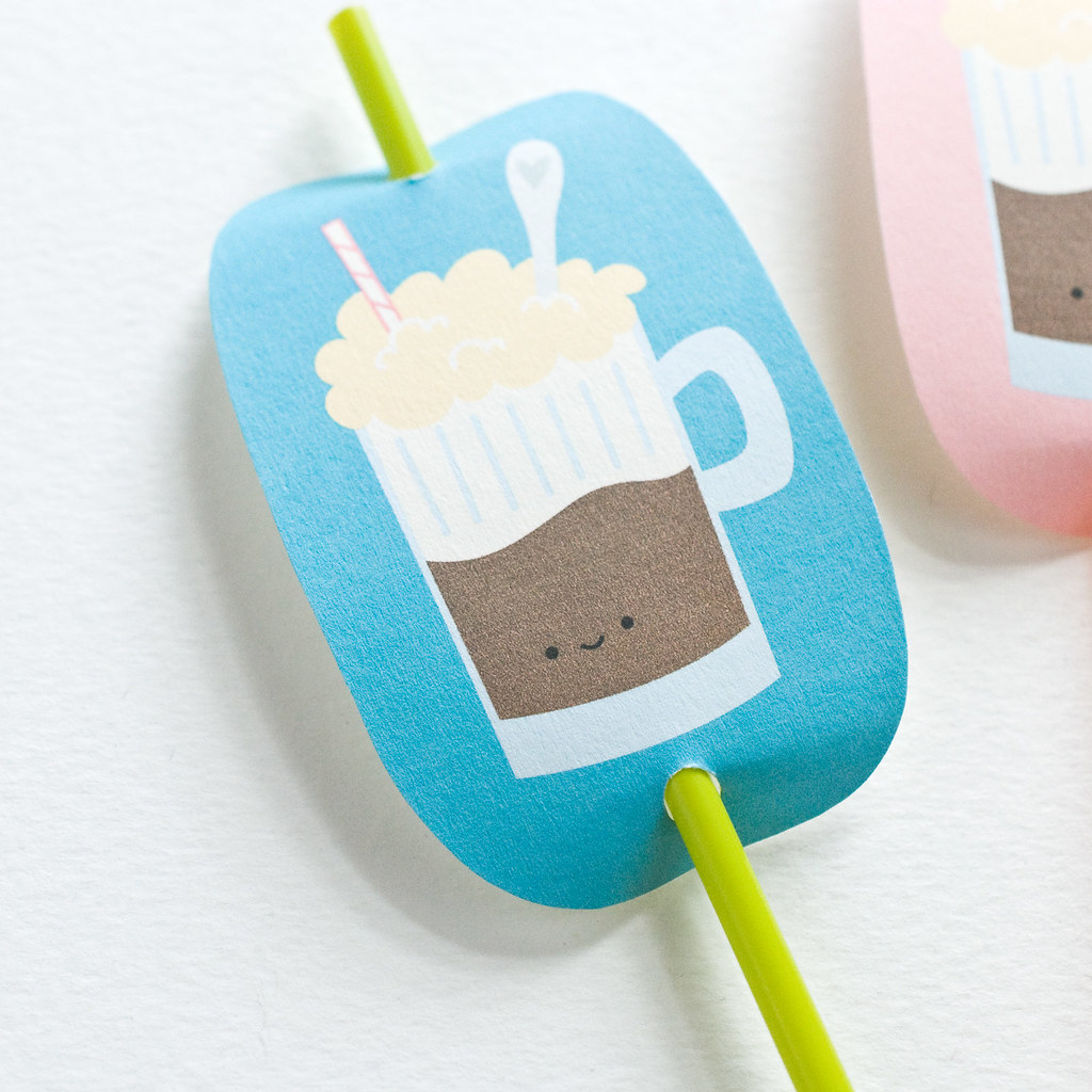 Printable Root Beer Float Straw Charms