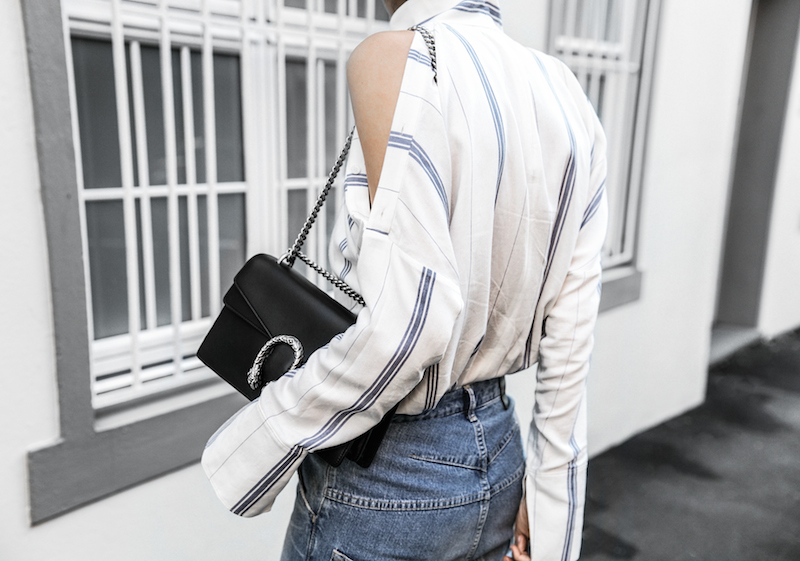 bassike lo slung jeans Gucci dionysus bag black fur horsebit loafers Tibi pinstripe shirt cold shoulder street style fashion blogger minimal modern legacy (8 of 8)