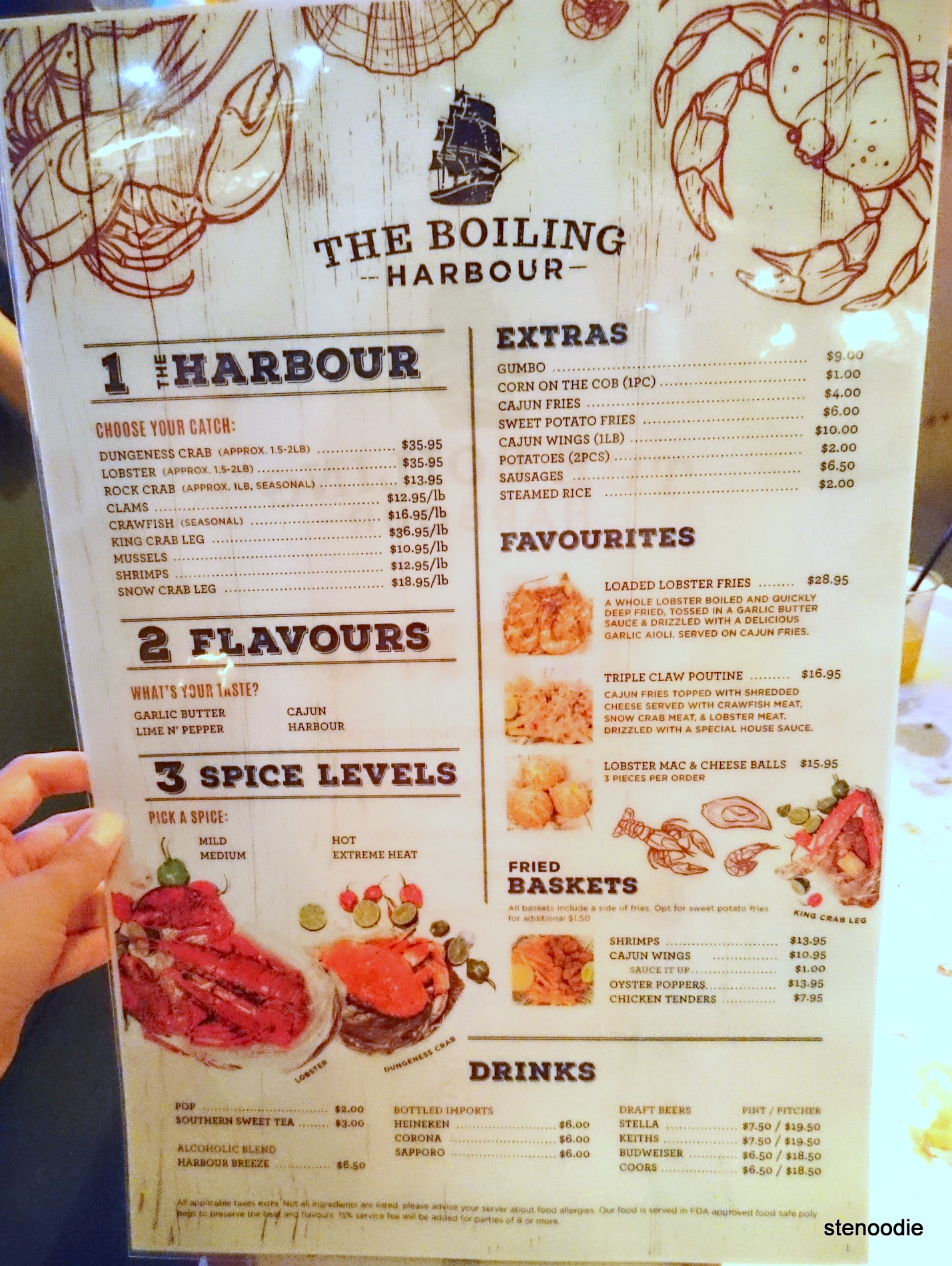 The Boiling Harbour menu