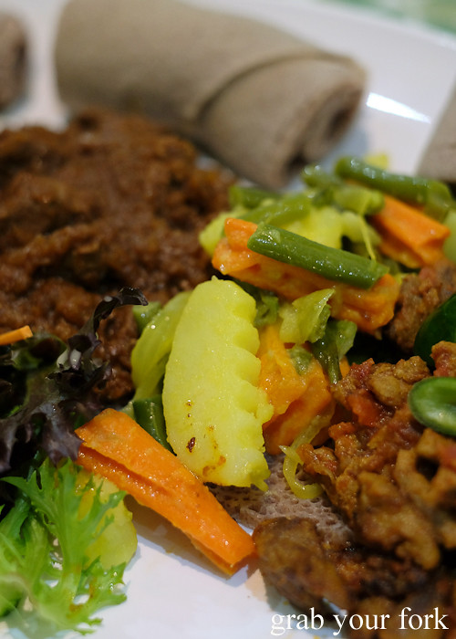 Ethiopian atkelet carrot, potatoes and string beans at Aaboll Cafe, Merrylands