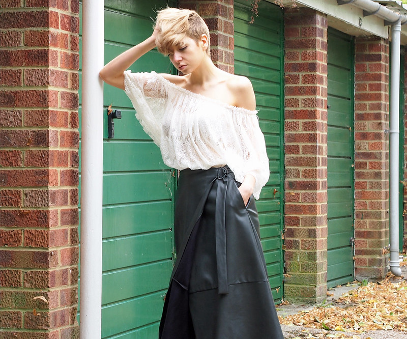 Faux Leather Wrap Skirt, Bardot Top, Lace, Off the Shoulder, Midi, M&S, Marks & Spencer, How to Wear, Summer, Outfit Ideas, Style Inspiration, UK Fashion Blog, London Style Blogger, Sam Muses, SS16