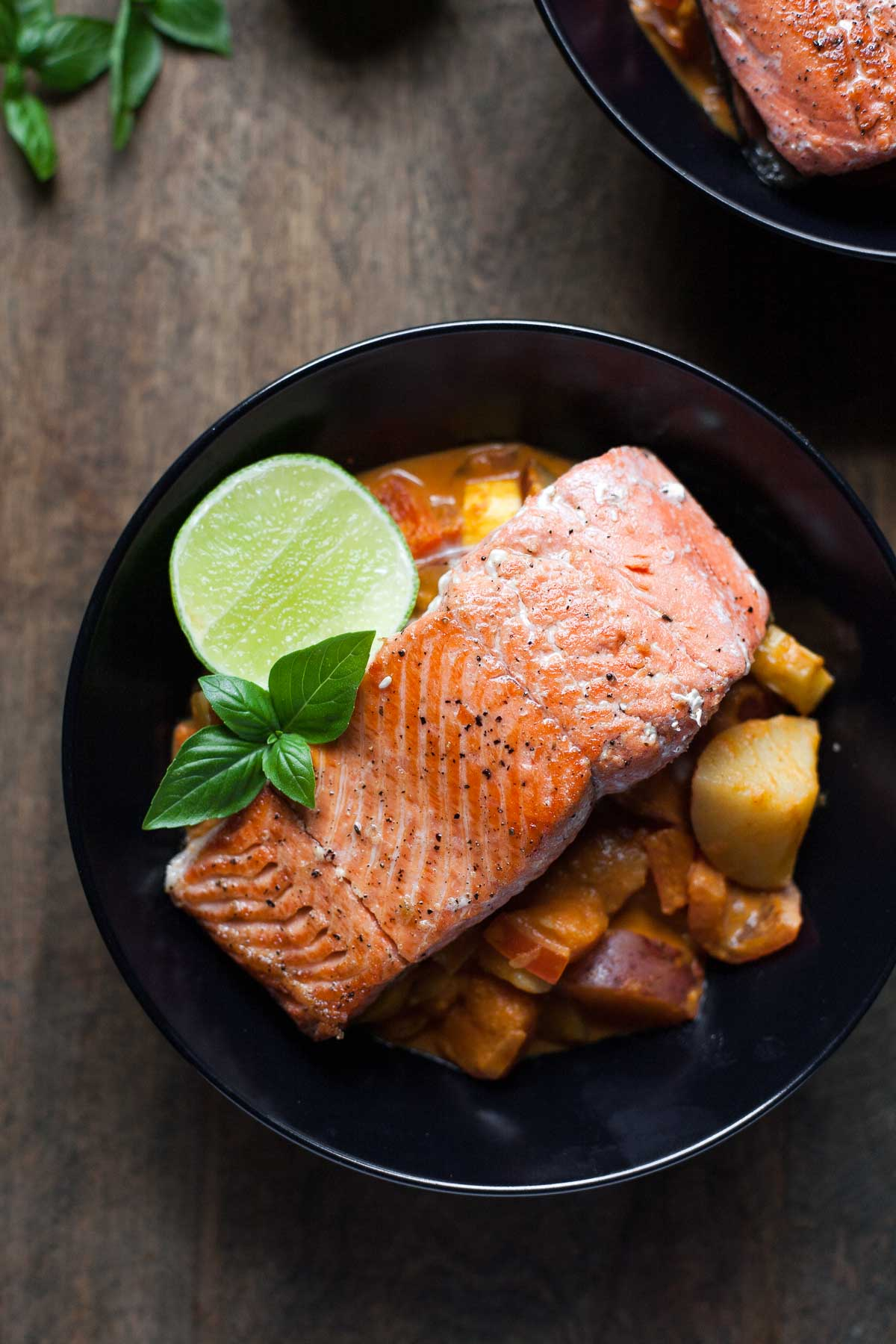 Seared Salmon with Red Curry Vegetables