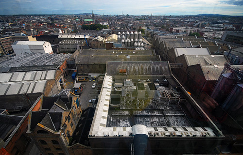 View from the upper windows in the Guinness Storehouse at St. James's Gate Brewery in Dublin, Ireland