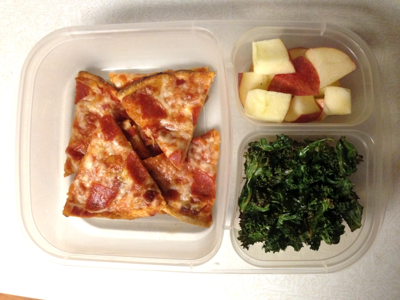 Mini pizzas, apples, & roasted kale