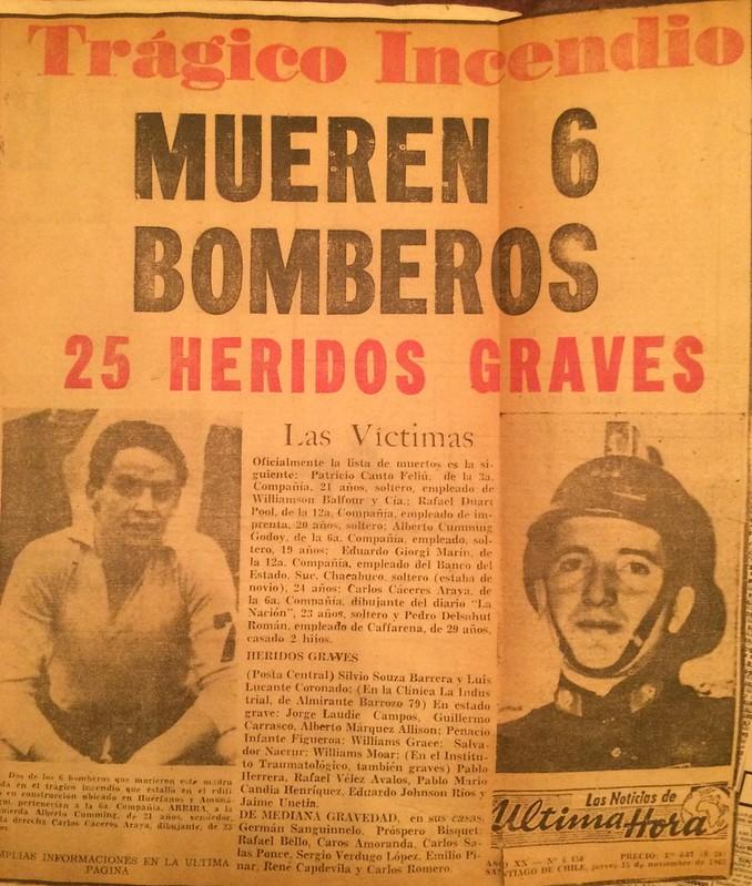 Trágedia Amunategui y Huerfanos 1962