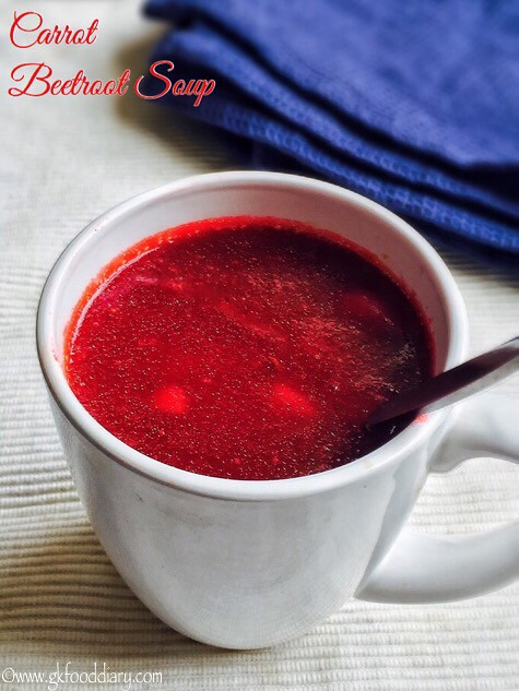 Carrot Beetroot Soup Recipe for Babies, Toddlers and Kids3