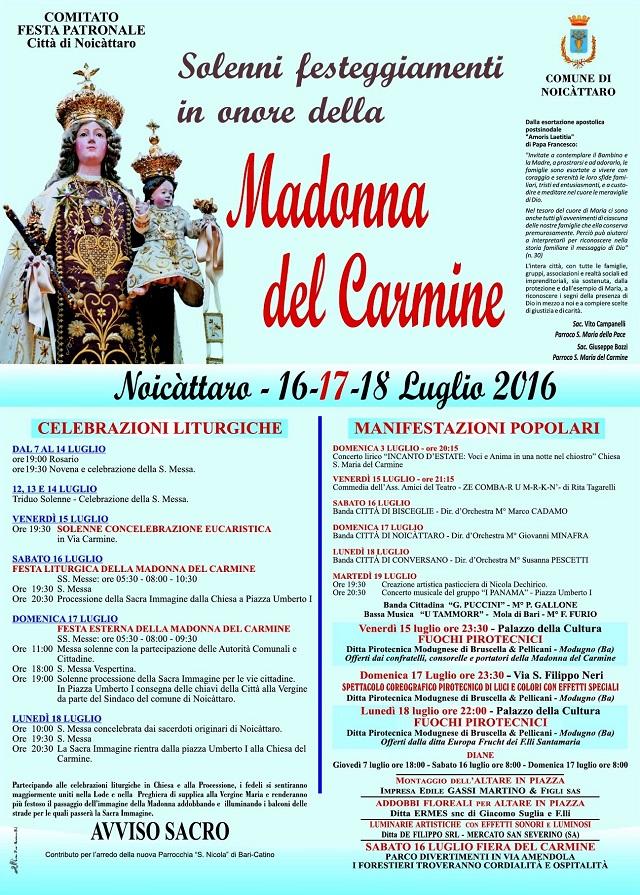 Noicattaro. Programma Festa del Carmine intero