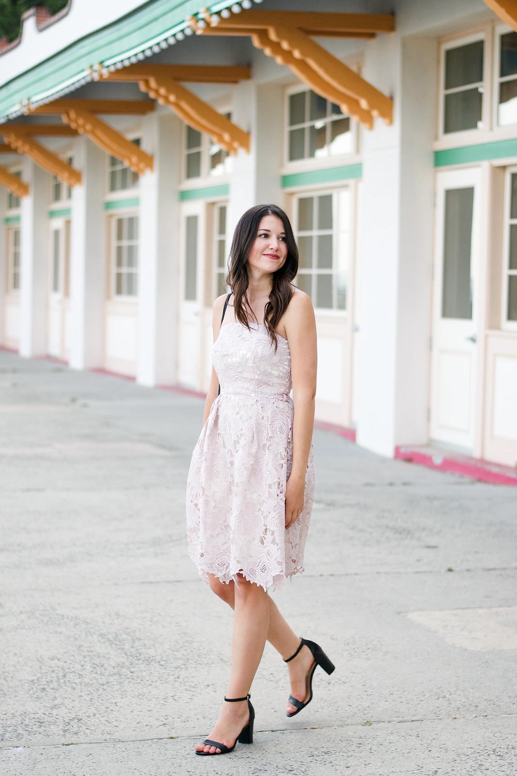 Blush Lace Dress Outfit