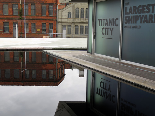 A reflection of the Titanic Museum in Belfast, Ireland