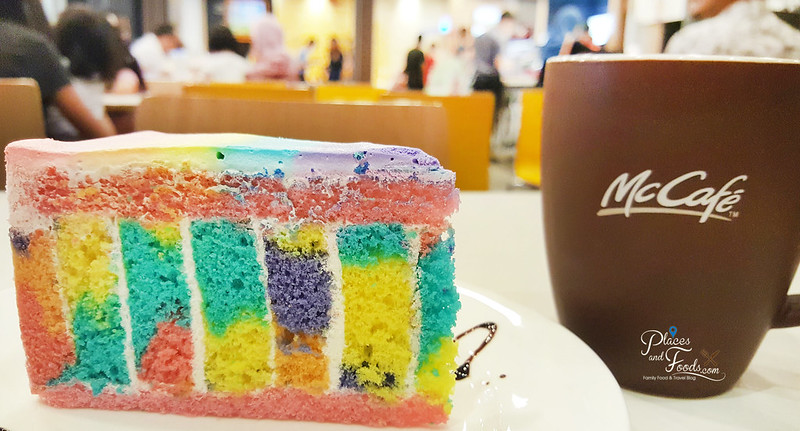 mc cafe rainbow cake with tea