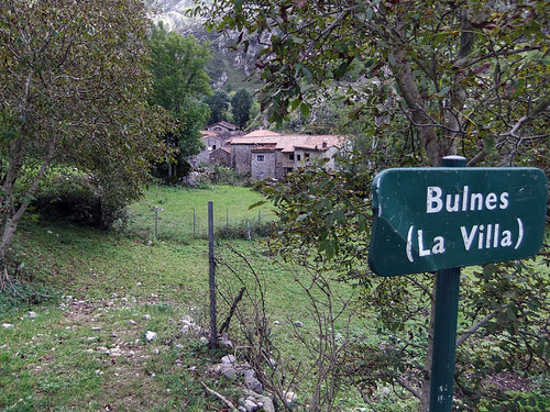 Sign leading into the village of Bulnes in the Picos de Europa of Northern Spain