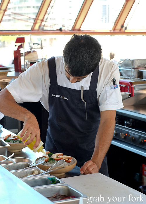 Chef preparing red claw yabbies at Bennelong Restaurant Sydney