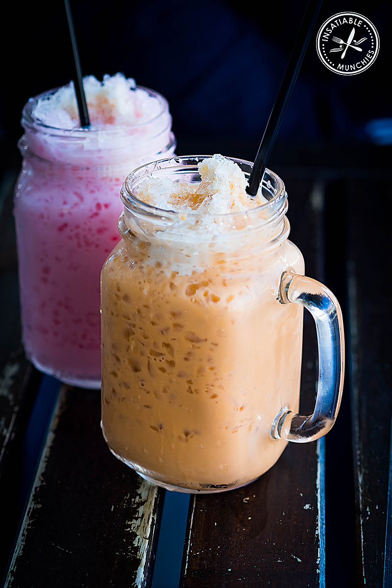Ice Pinky Milk and Thai Milk Tea, $4.50 each. Korn Thai, Crows Nest. Sydney Food Blog Review