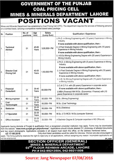 Coal Pricing Cell Mines & Minerals Department Jobs