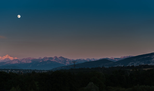Full moon over Mont Blanc.