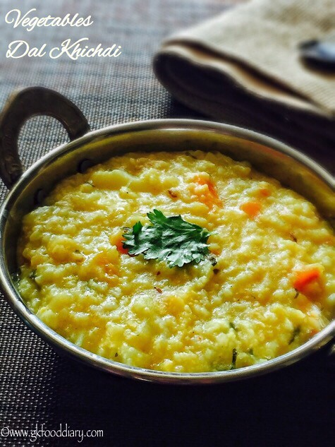 Vegetables Dal Khichdi Recipe for Babies, Toddlers and Kids