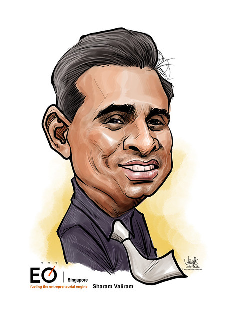 Sharam Valiram digital caricature for EO Singapore