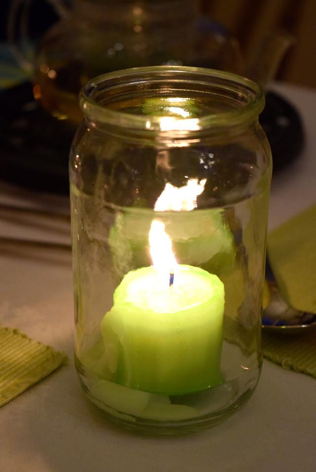 Green Jam Jar Tealights | www.rachelphipps.com @rachelphipps
