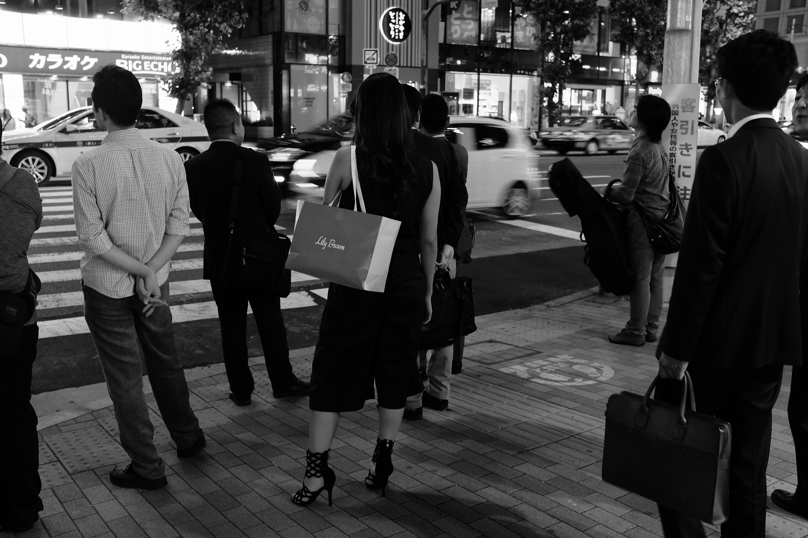 The Ginza night photo in Tokyo, Japan.