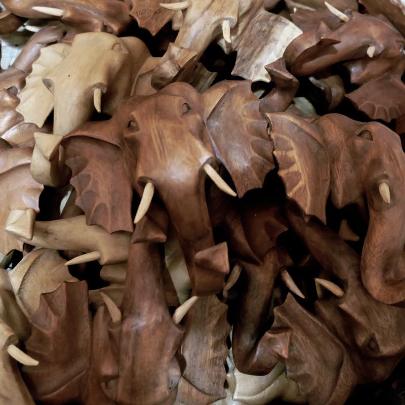 wooden elephant coat hangers