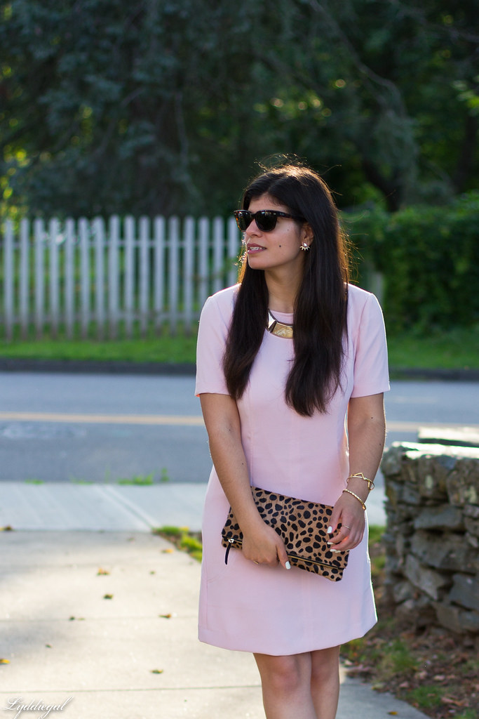 pink sheath dress, clair v leopard clutch, gorjana vista cuff-1.jpg