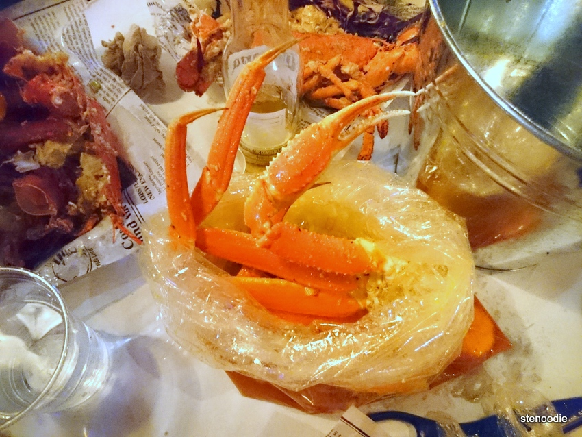 King crab legs from seafood boil bag
