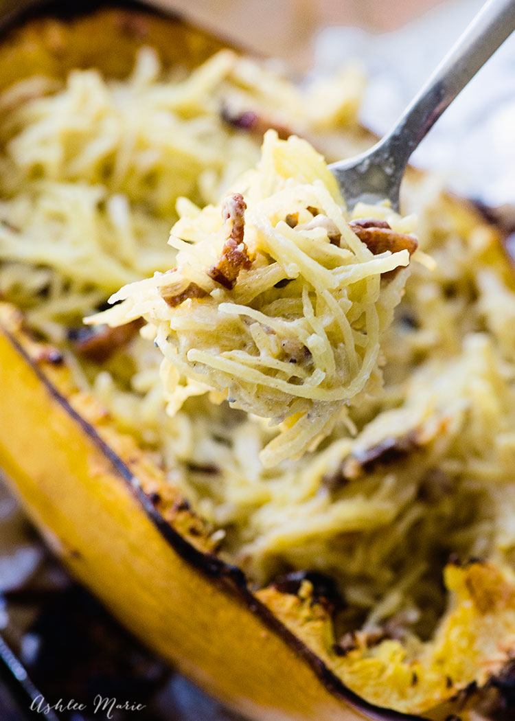 after you bake the sauce, bacon and spaghetti squash stir together and enjoy
